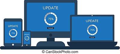 smartphone, tablette, écran, mise jour, ordinateur portable, informatique, bureau