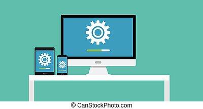 smartphone, tablette, app, mise jour, pc, cahier, logiciel, ordinateur portable, mise jour, dekstop