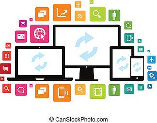 smartphone, tablette, app, synchro, bureau, ordinateur portable, nuage