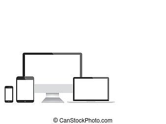 smartphone, tablette, moderne, ordinateur portable, vecteur, informatique