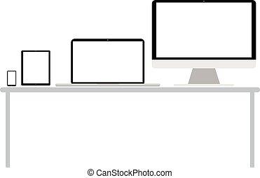 smartphone, tablette, ordinateur portable, appareils, ordinateur bureau, électronique