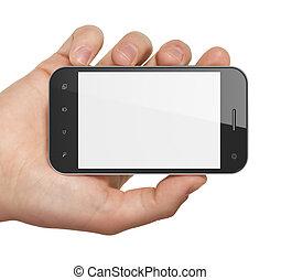 smartphone, tenue, générique, render., main, arrière-plan., téléphone portable, blanc, intelligent, 3d