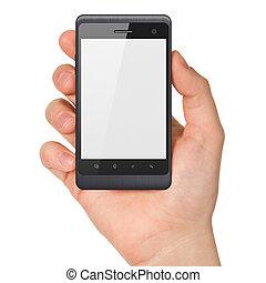 smartphone, tenue, render, générique, main, arrière-plan., téléphone portable, blanc, intelligent, 3d