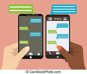 smartphone, text., main, noir, tenue, vide, parole, bulles