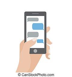 smartphone, texte, main, noir, tenue, vide, parole, bulles