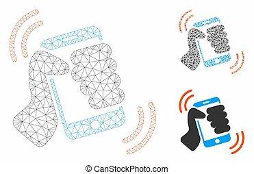 smartphone, triangle, réseau, maille, vecteur, modèle, anneau, mosaïque, icône