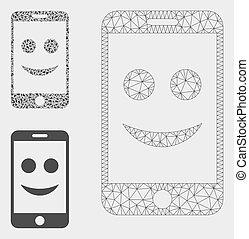 smartphone, triangle, réseau, maille, vecteur, modèle, heureux, mosaïque, icône