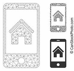 smartphone, triangle, réseau, maille, vecteur, modèle, page accueil, mosaïque, icône