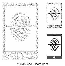 smartphone, triangle, réseau, maille, vecteur, prend empreintes digitales dispositif balayage, modèle, mosaïque, icône
