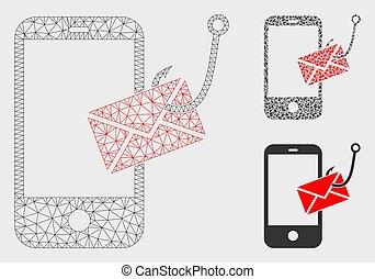 smartphone, triangle, réseau, phishing, maille, vecteur, message, modèle, mosaïque, icône