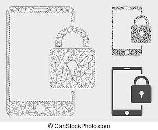 smartphone, triangle, réseau, serrure, maille, vecteur, modèle, mosaïque, icône