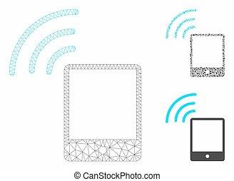 smartphone, triangle, réseau, signal, maille, vecteur, modèle, wi-fi, mosaïque, icône