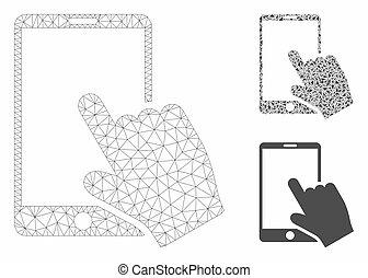 smartphone, vecteur, toucher, triangle, icône, mosaïque, réseau, modèle, maille