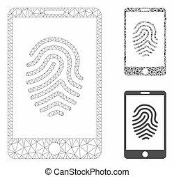 smartphone, vecteur, triangle, icône, mosaïque, modèle, empreinte doigt, 2d, maille