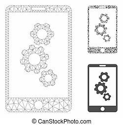 smartphone, vecteur, triangle, icône, mosaïque, réseau, modèle, engrenages, maille