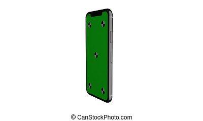 smartphone, vertical, écran, tourner, position., vert, exposer