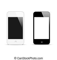 smartphones, écran, moderne, vide