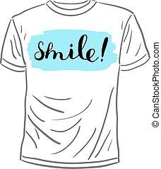 smile., lettering., brosse