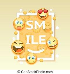 smiley, conception, elements., faces