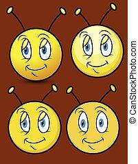 smiley, dessin animé, abeille, faces