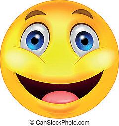 smiley, dessin animé, heureux