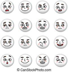 smiley, ensemble, faces, icônes