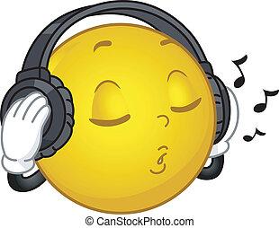 smiley, musique, aimer