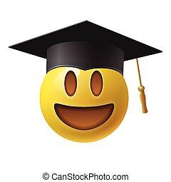 smiley., planche, blanc, vecteur, mortier, emoticon, emoji, illustration, fond, porter, sourire, mignon, isolé
