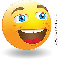 smiley, rire, figure