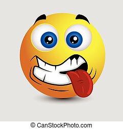 smiley, -, vecteur, oops, langue dehors