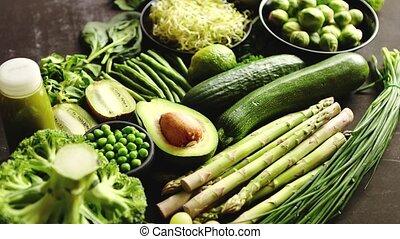 smoothie..., composition, pomme, nourriture, avocat, sain, vert, brocoli