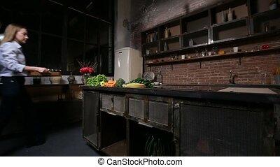 smoothie, femme, préparer, cuisine, charmer