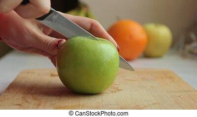 smoothie, frais, faire, coupure, pomme