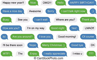 sms, bulles, court, messages