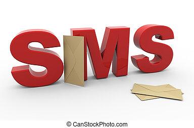 sms, enveloppe, 3d