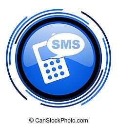 sms, lustré, bleu, icône, cercle