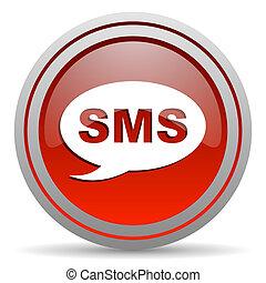 sms, lustré, fond, blanc rouge, icône