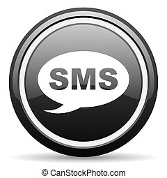 sms, noir, lustré, fond, blanc, icône