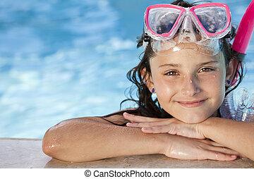 snorkel, lunettes protectrices, enfant, girl, piscine, heureux