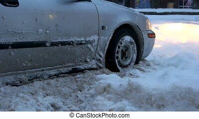 snow., voiture, calé