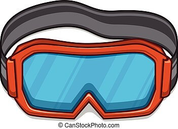 snowboard, ski, goggles.