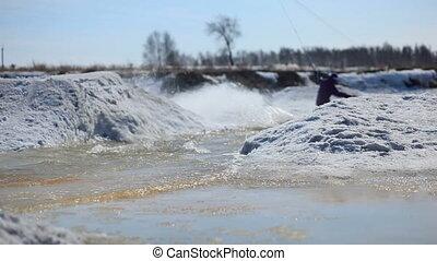 snowboarder, équitation, spri, eau