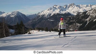 snowboarder, coup, suivre