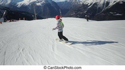 snowboarder, suivre, coup