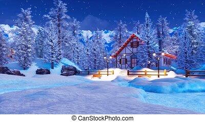 snowbound, hiver, maison, éclairé, nuit, alpin