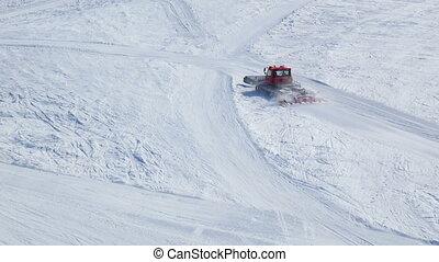 snowcat, montagnes, ski