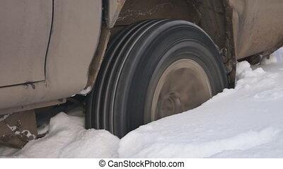 snowdrift., voiture, calé