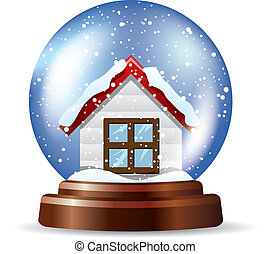 snowglobe, solitaire, maison