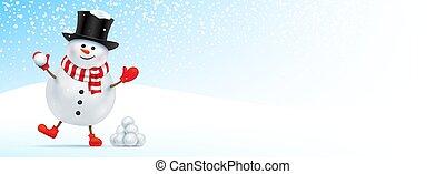 snowman., noël, bannière, heureux, conception
