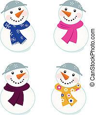 snowmen, isolé, mignon, vecteur, collection, blanc